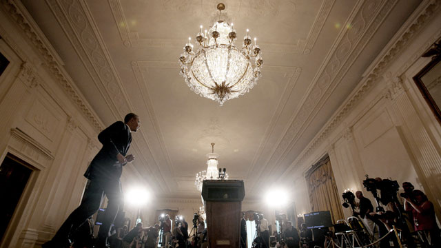 PHOTO: President Barack Obama walks towards the podium to make a statement on the Internal Revenue Services targeting of conservative groups for extra tax scrutiny in the East Room of the White House in Washington, Wednesday May 15, 2013.