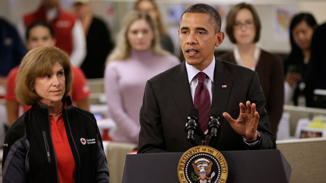 President Barack Obama, accompanied by American Red Cross President and CEO Gail J. McGovern, speaking during his visit to the Disaster Operation Center of the Red Cross National Headquarter.