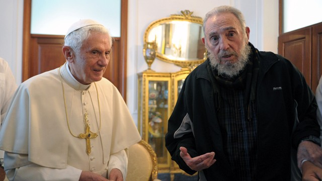 PHOTO:&nbsp;L'Osservatore Romano Pope Benedict XVI meets with Fidel Castro in Havana. Benedict announced Monday Feb. 11, 2013 he would resign Feb. 28, the first pontiff to do so in nearly 600 years.
