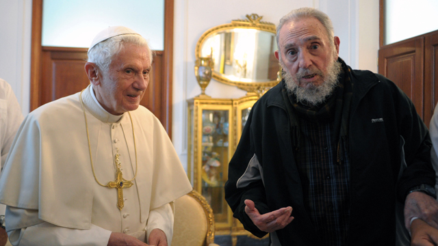 PHOTO: LOsservatore Romano Pope Benedict XVI meets with Fidel Castro in Havana. Benedict announced Monday Feb. 11, 2013 he would resign Feb. 28, the first pontiff to do so in nearly 600 years.