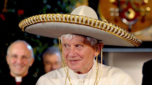 PHOTO:Pope Benedict XVI wears a Mexican sombrero hat in Leon, Mexico
