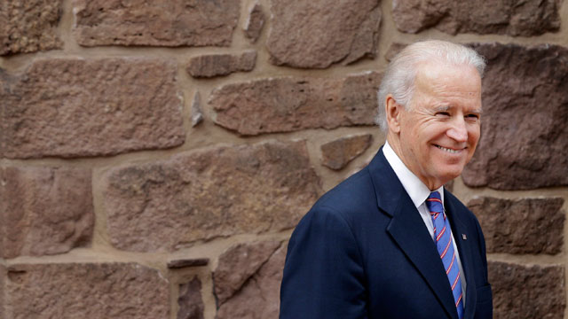 PHOTO: Vice President Joe Biden walks out to a ceremony in New Castle, Del., Tuesday, March 26, 2013, at First State National Monument, which was designated a national monument by President Barack Obama on Monday.
