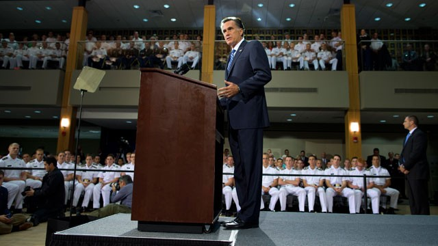 PHOTO: Republican presidential candidate, former Massachusetts Gov. Mitt Romney gives a foreign policy speech at the Virginia Military Institute, Monday Oct. 8, 2012, in Lexington, Va.