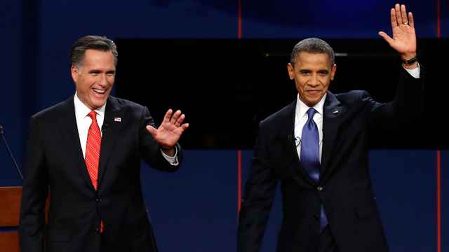 PHOTO: Republican presidential nominee Mitt Romney and President Barack Obama wave to the audience during the first presidential debate at the University of Denver, Wednesday, Oct. 3, 2012, in Denver.