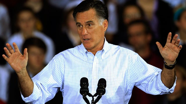 Republican presidential candidate and former Massachusetts Gov. Mitt Romney speaks at a campaign event at Avon Lake High School Monday, Oct. 29, 2012, in Avon Lake, Ohio.