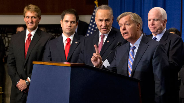 PHOTO:In this April 18, 2013 file photo, Sen. Lindsey Graham, R-S.C., second from right, speaks about immigration reform during a news conference on Capitol Hill in Washington.