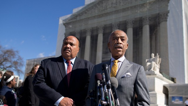 PHOTO: Rev. Al Sharpton, right, and Martin Luther King III meet with reporters outside the Supreme Court in Washington, Wednesday, Feb. 27, 2013, after arguments in the Shelby County, Ala., v. Holder voting rights case.