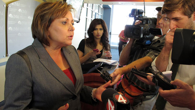 "PHOTO: New Mexico Gov. Susana Martinez talks to reporters about GOP presidential nominee Mitt Romneys comments in a secret video to wealthy donors that 47 percent of all Americans ""believe they are victims"" entitled to extensive government support, Tu"