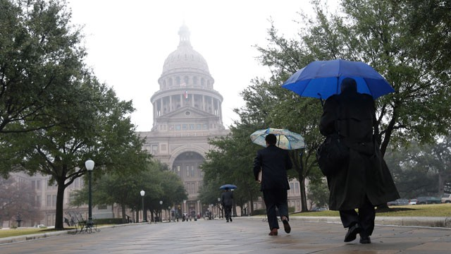PHOTO:&nbsp;The Texas state capitol is masked by drizzle and fog on the opening day of the 83rd Texas Legislature session, Tuesday, Jan. 8, 2013, in Austin, Texas.