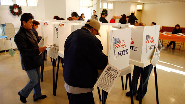 PHOTO: Voters go to the polls for Super Tuesday primaries in the predominantly Latino neighborhood of Boyle Heights on February 5, 2008 in Los Angeles, California.