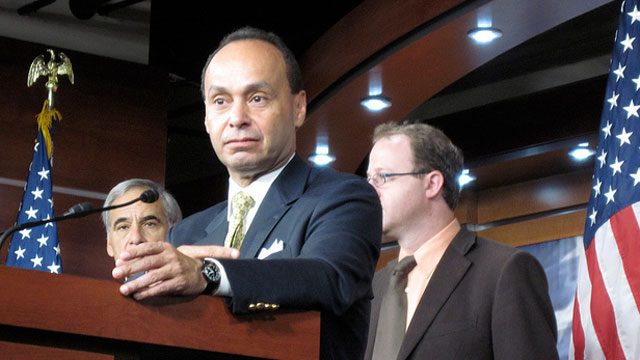 PHOTO: Rep. Luis Gutierrez (D-Ill.) speaks alongside members of the Congressional Hispanic Caucus about immigration reform in June, 2010.