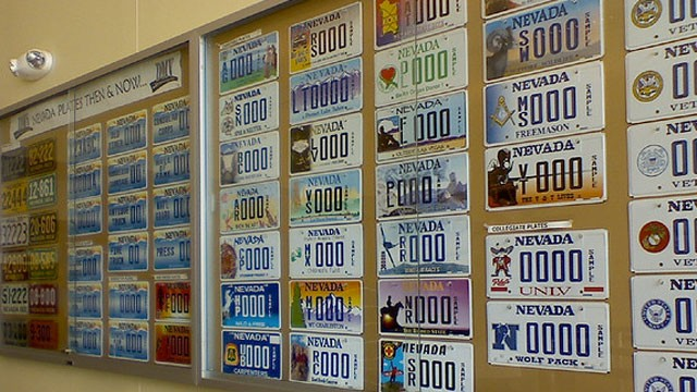 PHOTO:&nbsp;License plates adorn a wall at a Nevada Department of Motor Vehicles office in July 2009.