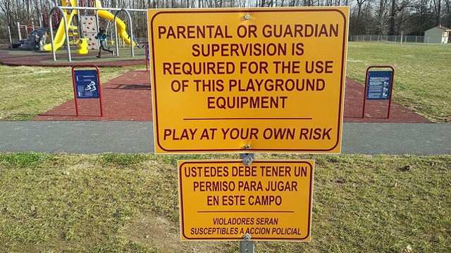 PHOTO: These signs, which appeared in elementary playgrounds in Southern Delaware, were removed late Sunday after they sparked controversy online.