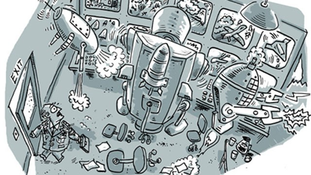 PHOTO:&nbsp;A cartoon depicts an autonomous robot. Such robots do not currently exist, but Human Rights Watch is concerned about the future possibility of robots making decisions, especially regarding the use of lethal force, without human intervention.