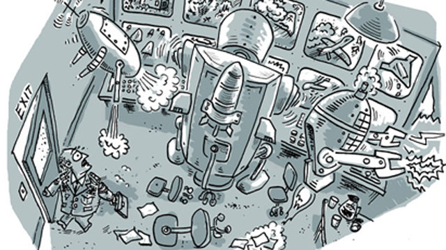 PHOTO:A cartoon depicts an autonomous robot. Such robots do not currently exist, but Human Rights Watch is concerned about the future possibility of robots making decisions, especially regarding the use of lethal force, without human intervention.