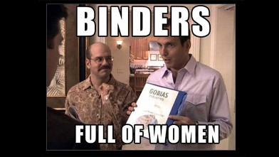 The meme &quot;binders full of women&quot; took off.