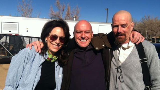 PHOTO: Actress Jane Kaczmarek poses with Breaking Bad actors Dean Norris and Bryan Cranston