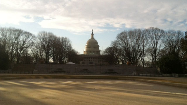PHOTO: The Capitol appears in the morning light on Inauguration Day.