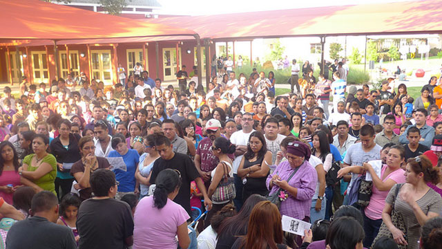 PHOTO: Hundreds gathered on Wednesday, June 20, 2012, to attend an information summit at Baker Ripley Neighborhood Center in Houston, Texas on the deferred action process.