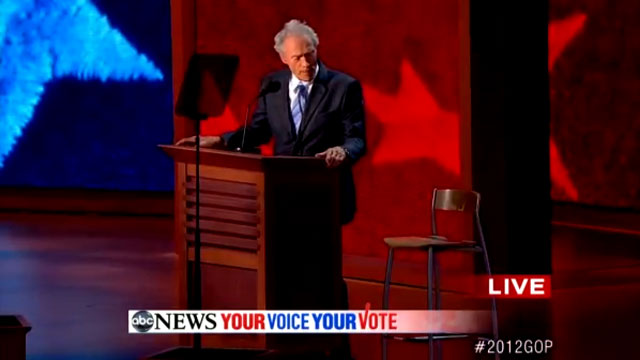 Clint Eastwood talks to a chair