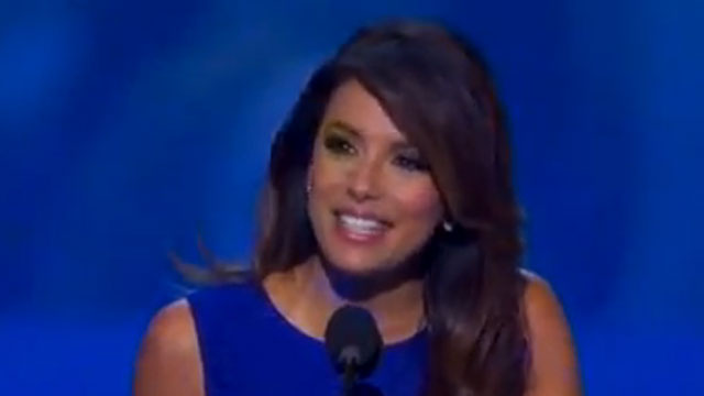 PHOTO: Eva Longoria speaks at the Democratic National Convention in Charlotte, North Carolina on Thursday, September 6, 2012.