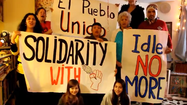 PHOTO:A group of Latinos in Toronto, Canada show their solidarity with the Idle No More movement.