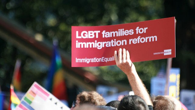 PHOTO:&nbsp;People call for equal rights for same-sex couples under immigration reform during an October 2009 rally in Washington, DC.