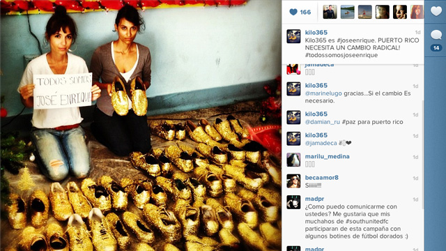PHOTO: Kazandra Santana and Hazel Echevarria pose with gold shoes that are part of their Kilo365 initiative to end violence in Puerto Rico