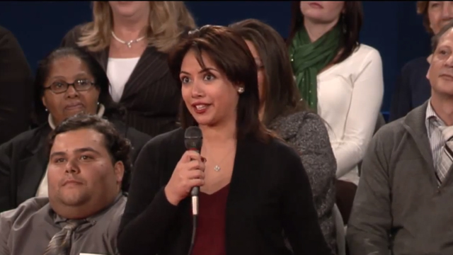 PHOTO: Lorraine Osorio, 24, asked Governor Romney how he would handle immigrants currently in the country without documents.