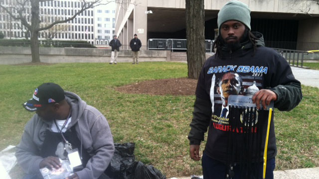 PHOTO: Vendors tempted inauguration attendees with a variety of Obama-related goods, from pins to t-shirts.