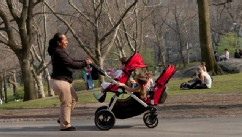 PHOTO: A nanny pushes a stroller in New York City's Central Park, just blocks away from the residence where Felicitas del Carmen Villanueva Garnica  (not pictured) says she was subject to