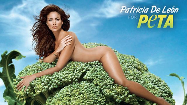 PHOTO: This (seemingly one-legged) former Panamanian beauty queen is posing nakie to get U.S. Latinos to eat less meat.