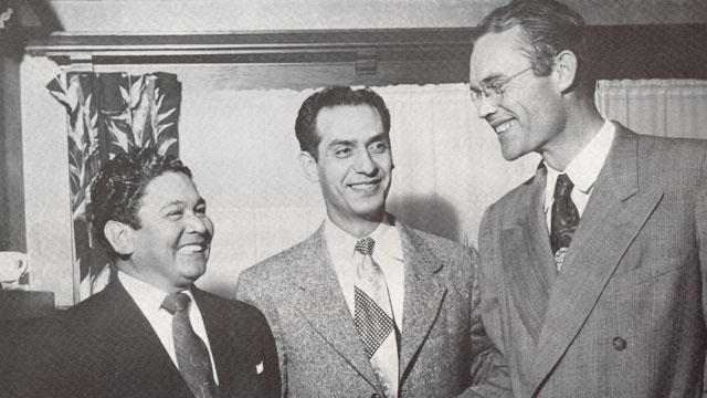 PHOTO: Fred Ross Sr. with Ed Roybal (center) and Sal Rivas, 1951.