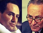 PHOTO: An image of then-Rep. Charles Schumer at a House committee meeting in 1985, alongside an image of Sen. Schumer in his Brooklyn district this March.