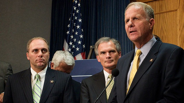 PHOTO:&nbsp;Congressman Ted Poe (R-Texas) speaks at a 2009 press conference as other lawmakers look on.