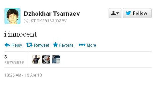PHOTO: A fake online account declares the suspected Boston bomber innocent.