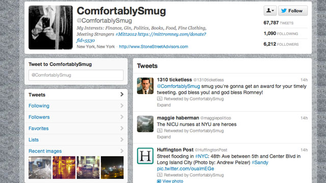 Buzzfeed identified Shashank Tripathi as the man behind @ComfortablySmugs false tweets about Hurricane Sandy.