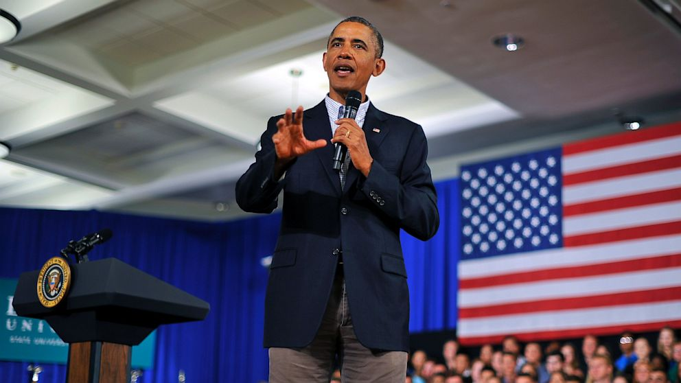 PHOTO: US President Barack Obama speaks during a town hall meeting at Binghamton University, on August 23, 2013 in Binghamton, New York. Obama is on a two-day bus tour through New York and Pennsylvania to discuss his plan to make college more affordable.
