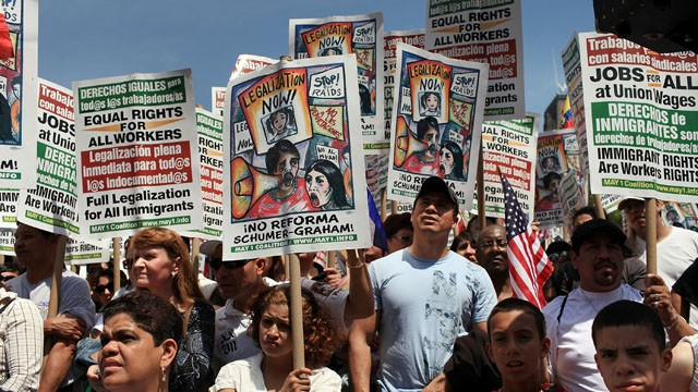 PHOTO:&nbsp;Hundreds of activists, supporters of illegal immigrants and members of the Latino community rally against a new Arizona law in Union Square on May Day on May 1, 2010 in New York City.