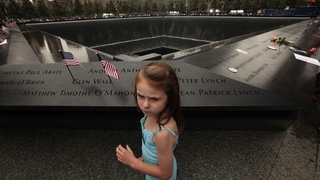 PHOTO:NEW YORK, NY - SEPTEMBER 11: Keri McMorrow, 7, visits the memorial pool where her uncles name is engraved.