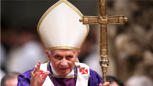 PHOTO: Pope Benedict XVI leads the Ash Wednesday service at the St. Peter's Basilica on February 13, 2013 in Vatican City, Vatican.