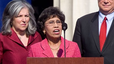 Linda Chavez-Thompson (center) at the 2008 Democratic National Convention (DNC) in Denver, Colorado.