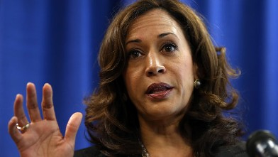 California Attorney General Kamala Harris speaks to reporters in July 2012 in San Francisco,.