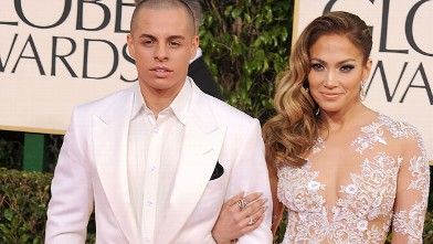 Jennifer Lopez and Casper Smart arrives at the 70th Annual Golden Globe Awards at The Beverly Hilton Hotel on January 13, 2013 in Beverly Hills, California.