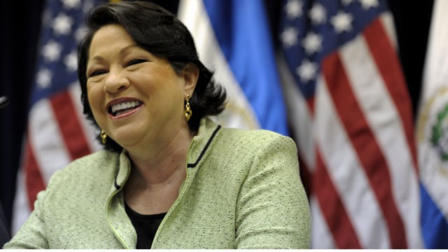 PHOTO: US Associate Justice of the Supreme Court Sonia Sotomayor during a press conference in San Salvador on August 16, 2011.