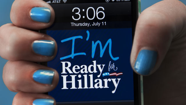 PHOTO: A dressed up I-Phone is seen in this posed photo at the 'Ready For Hillary' Super PAC offices working on behalf of undeclared US Presidential candidate and former US Secretary of State Hillary Clinton July 11, 2013