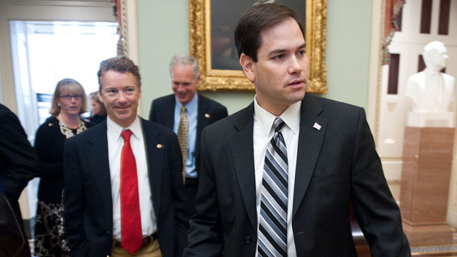 PHOTO: From left, Sen.-elect Rand Paul, R-Ky., and Sen.-elect Marco Rubio, R-Fla., leave the Mansfield Room during a break in freshman orientation on Wednesday, Nov. 17, 2010.