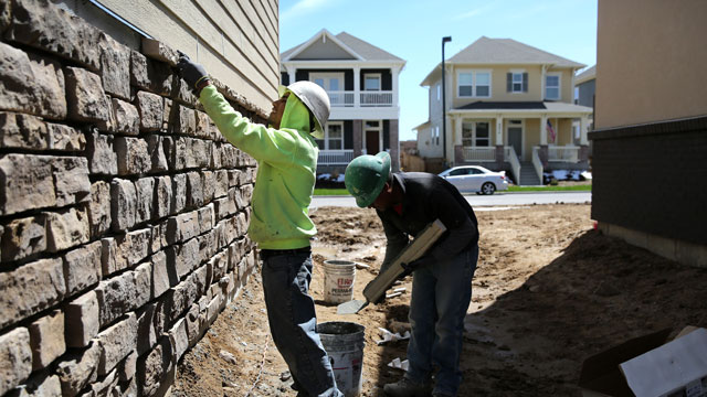 PHOTO:Mexican immigrants work on a housing development on May 3, 2013 in Denver, Colorado. The resurgent housing market has helped drive down unemployment for American workers but also for undocumented immigrants, many of whom work in construction.