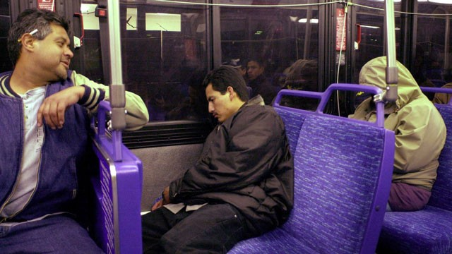 PHOTO: 'The rolling hotel', more commonly known as the Route 22 bus takes its 'guests' on their 22-mile late-night odyssey, in San Jose, California, February 21, 2000. Sky-high salaries in Silicon Valley have driven affordable rentals off the market.