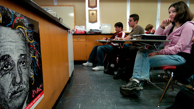 PHOTO: Members of the AP Chemistry class at Thomas Jefferson High School in Denver, CO, listen and make notes during a lesson on kinetics on Jan. 23, 2007.